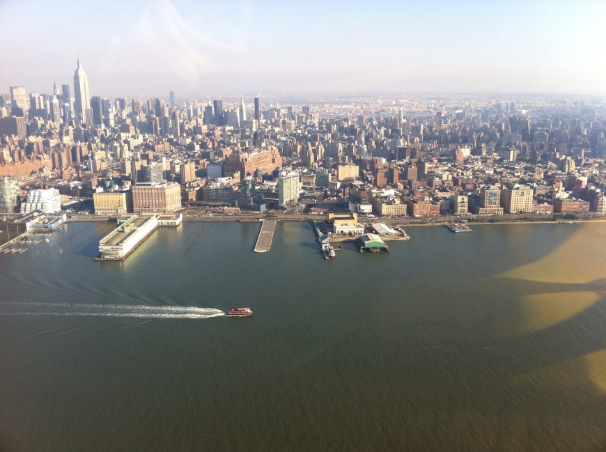 Empire State Building, left, and Ghost Pier, centre, where the Titanic was meant to dock