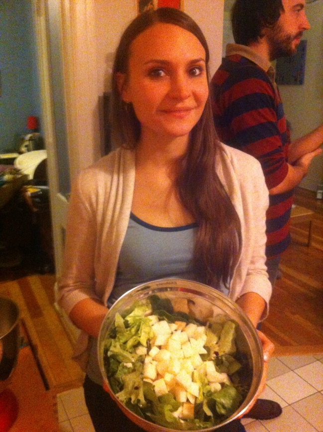 Bella shows off our jicama salad