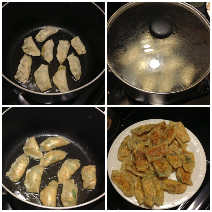 I put two tablespoons of oil in a pan and added the dumplings. After about a minute I threw half a cup of water on and covered it until they looked ready (a couple of minutes)