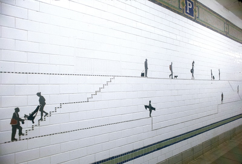 Carrying On by Janet Zweig and Edward Del Rosario (2004) lines the platforms of Prince Street