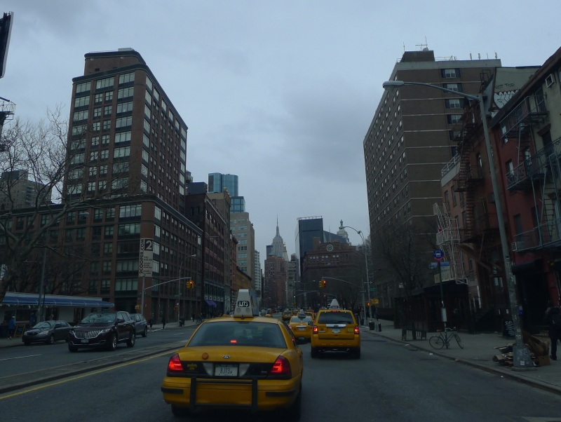 Heading up Bowery with the Empire State Building in the distance