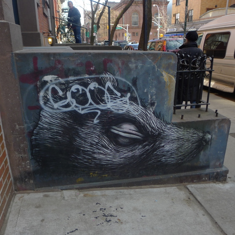 Rat by ROA - covered with an obnoxious tag by GOOG