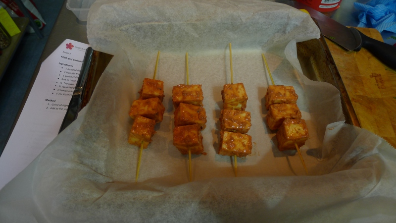 Marinate the paneer and pop on skewers