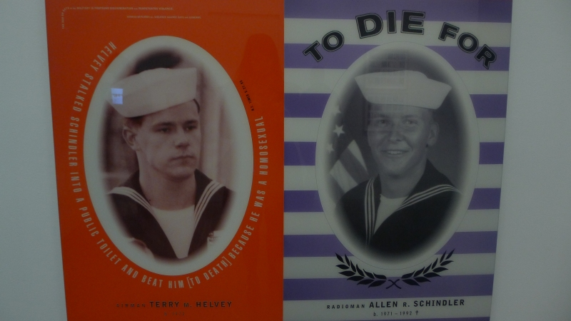 'In Honor of Allen R. Schindler' by Marlene McCarty and Donald Moffett in remembrance of Schindler, who was killed for being gay