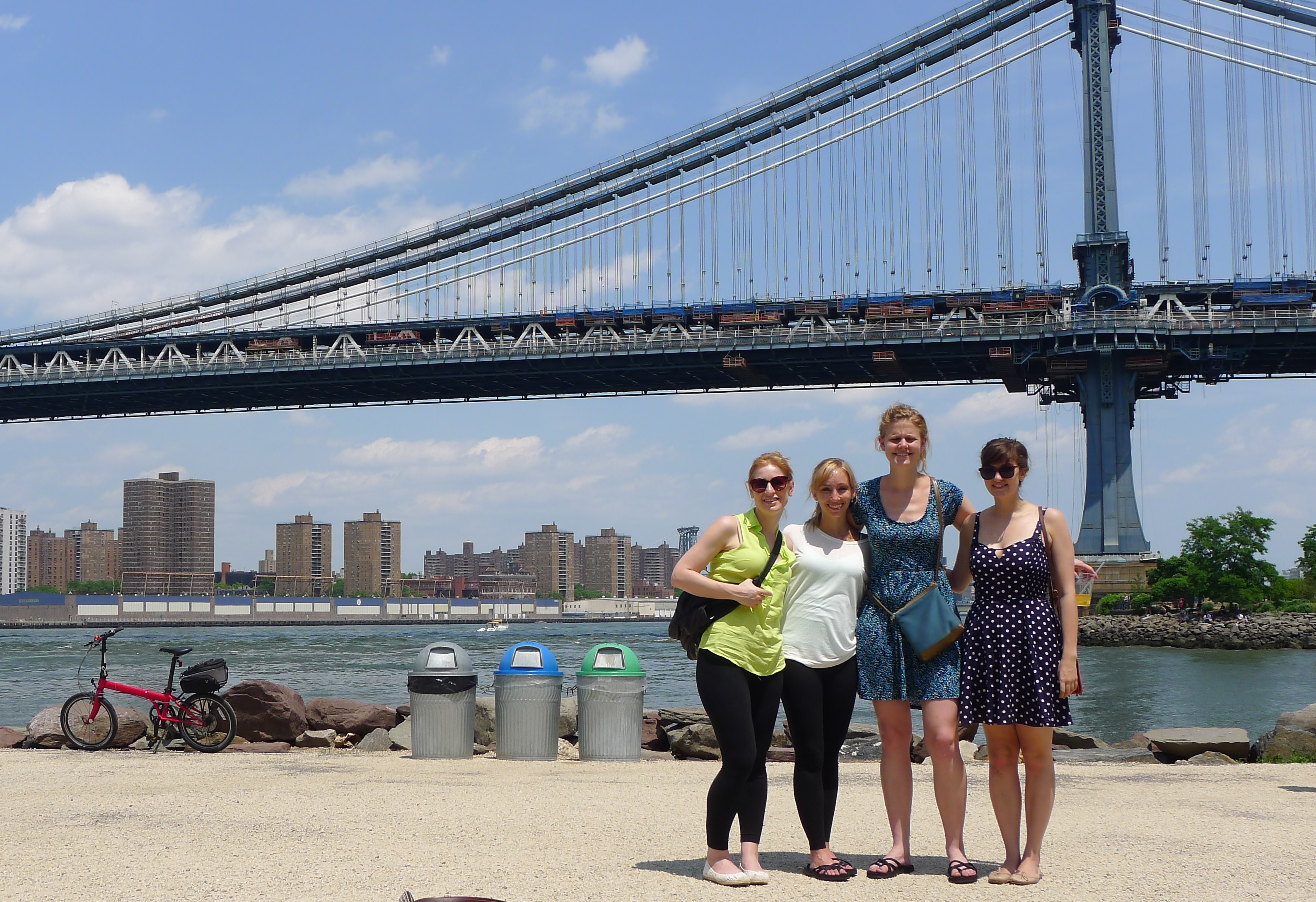 Manhattan Bridge (yes, I realise we're posing by bins)