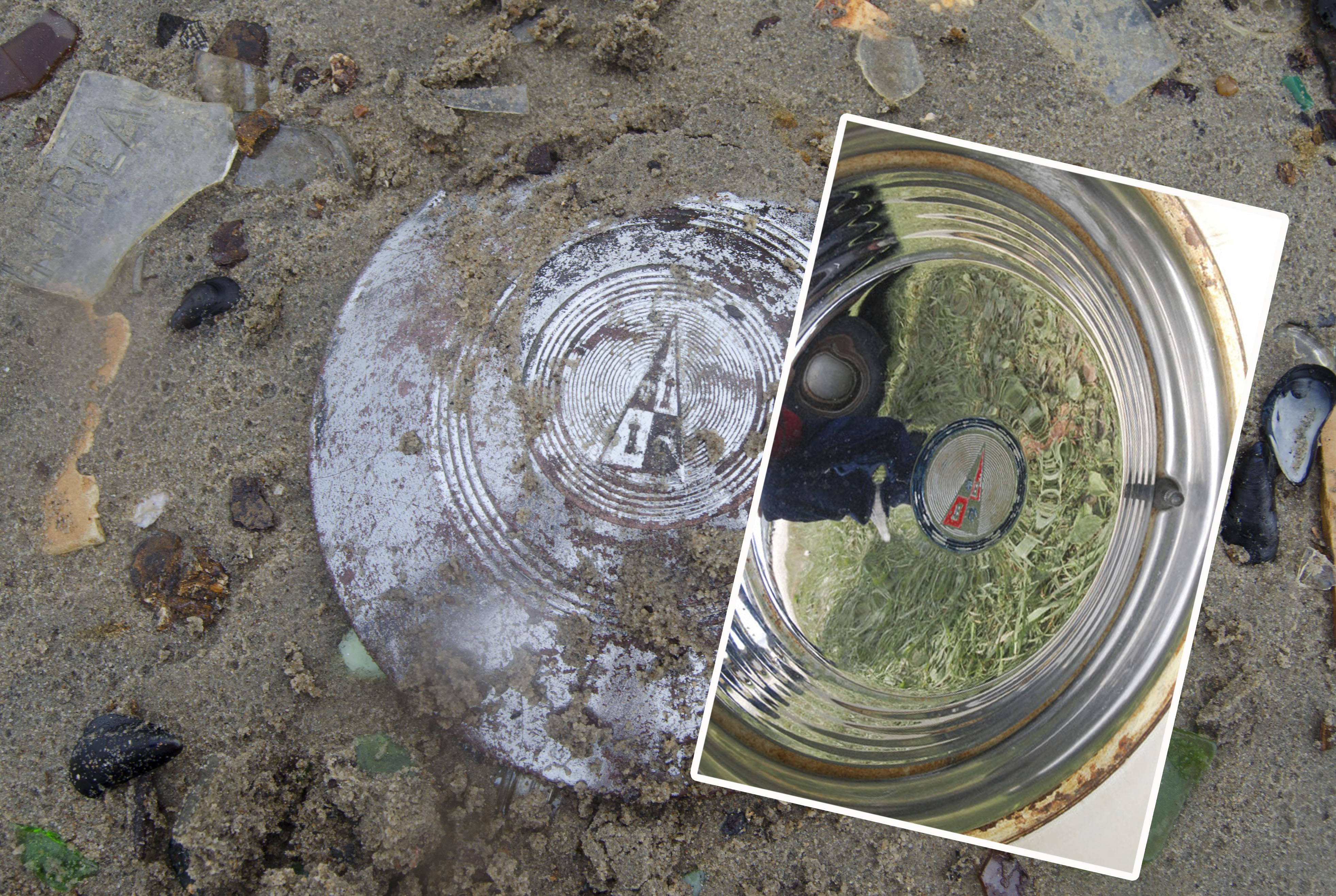 Ryan figured out this was a hubcap from a 1949 Hudson - check out the inset